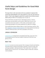 Useful Ideas and Guidelines for Good Web Form Design