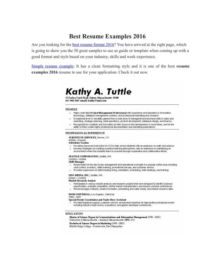Best Resume Examples 2016