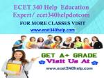 ECET 340 Help  Education Expert/ ecet340helpdotcom