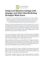 Local Business Listings with Elapages and Other Web Marketing Strategies