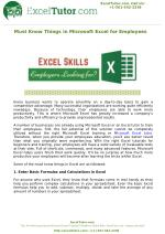 Must Know Things in Microsoft Excel for Employees