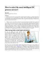 How to select the most intelligent DC process servers?