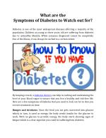 What are the Symptoms of Diabetes to Watch out for? - Apollo Edoc