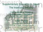 Supplementary Education in Japan: The Insecurity Industry