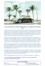 Luxury Auto Rental: Is it Viable to Hire a Sports Car As Opposed to Purchasing One?