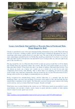 Luxury Auto Rental: Rent and Drive a Mercedes Benz in Florida and Make Things Happen for Real!
