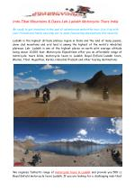 Indo-Tibet Mountains & Oasis-Leh-Ladakh Motorcycle Tours