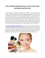 Hair and Beauty Related Services in a San Francisco Bay Area Beauty and Hair Salon