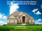 Factors To Consider In Mind Before Buying Residential Plots in Mysore.