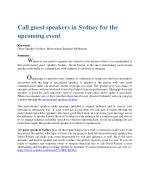 Call guest speakers in Sydney for the upcoming event