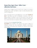 Same Day Agra Tour- Offer Cost-effective Services