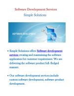 Software Development Company- Simple Solutions