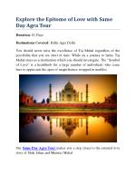 Explore the Epitome of Love with Same Day Agra Tour