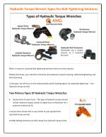 Hydraulic Torque Wrench Types For Bolt Tightening Solutions