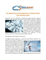 Use Digital Document Organizer to Safely Protect Your Business Data