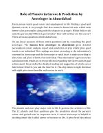 Role of Planets in Career & Prediction Best Astrologer in Ahmedabad
