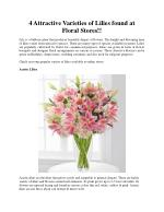 4 Attractive Varieties of Lilies found at Floral Stores!!