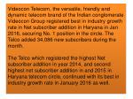 Videocon Telecom continues with its best in industry growth rate in Net subscriber addition in Haryana, secures No.1 pos