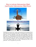 How to Activate Subconscious Mind And Practice Subconscious Mind Power