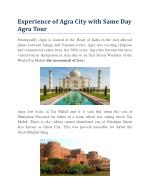 Experience of Agra City with Same Day Agra Tour