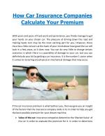 How Car Insurance Companies Calculate Your Premium