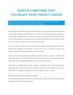 Signs & Symptoms that You Might Have Throat Cancer