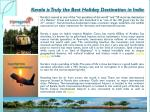 Kerala is Truly the Best Holiday Destination in India