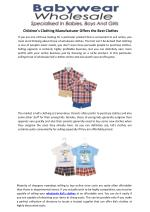 Children's Clothing Manufacturer Offers The Best Clothes
