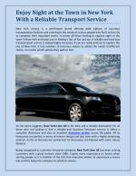 Enjoy Night At The Town In New York With A Reliable Transport Service