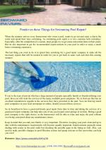 Ponder on these Things for Swimming Pool Repair