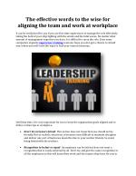 Effective words for aligning the team & work at workplace