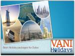 Vani Holidays | The Best Holiday Packages For Dubai