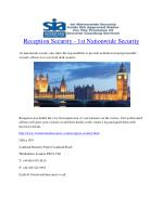 Reception Security - 1st Nationwide Security