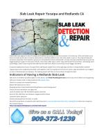 Slab Leak Repair Yucaipa and Redlands CA