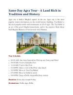 Same Day Agra Tour - A Land Rich in Tradition and History