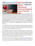 Indian Educational System & Students Career Path