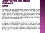 Architecture and Design Entrance Exam