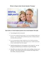 What to Expect after Dental Implant Therapy ?