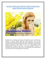 Another Allergy Symptoms Alleviating Drug Name Pheniramine Maleate