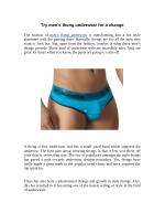Try men's thong underwear for a change