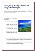Benefits of Hiring a Honolulu Property Manager