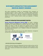 How Remote Infrastructure Management Services Benefit Business