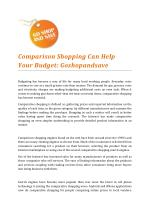 Comparison Shopping Can Help Your Budget by Goshopandsave