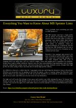 Everything You Want to Know About MB Sprinter Limo