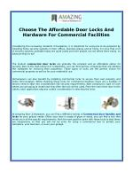 Choose The Affordable Door Locks And Hardware For Commercial Facilities
