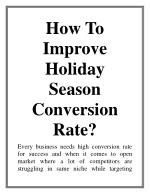 How To Improve Holiday Season Conversion Rate?
