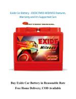 Exide Car Battery - EXIDE FMIO-MIDIN55 Features, Warranty and It's Supported Car