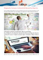 Blogging For Customers: Get Results By Sharing Your Expertise
