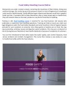 Food Safety Handling Course Online