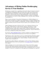 Advantages of Hiring Online Bookkeeping Service to Your Business